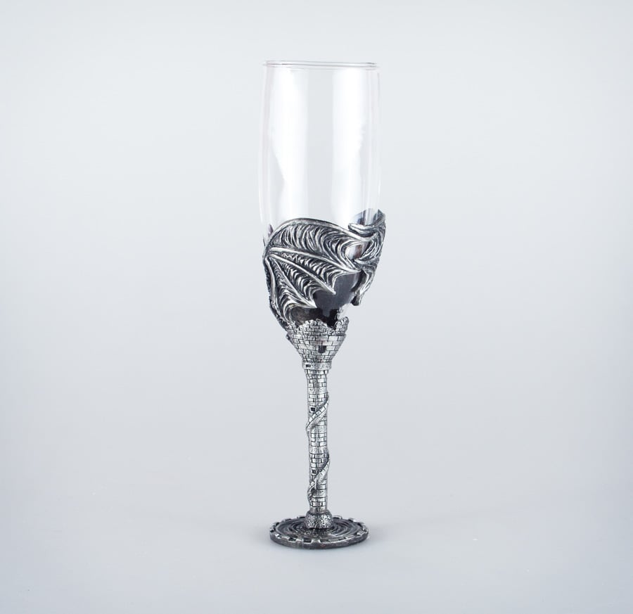 Dragon Champagne Flute With Castle Tower Stem St Nectans