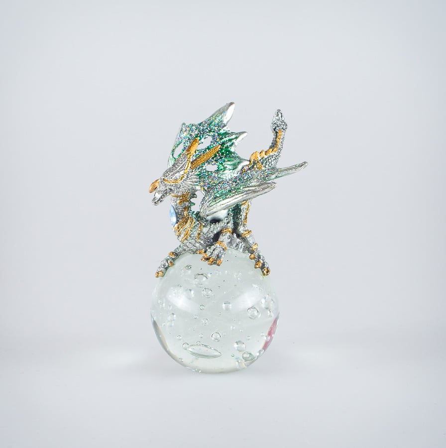 Green Dragon on Crystal Ball with Gem