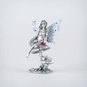 Toadstool Sitting Fairy & Red Gem on Mushroom