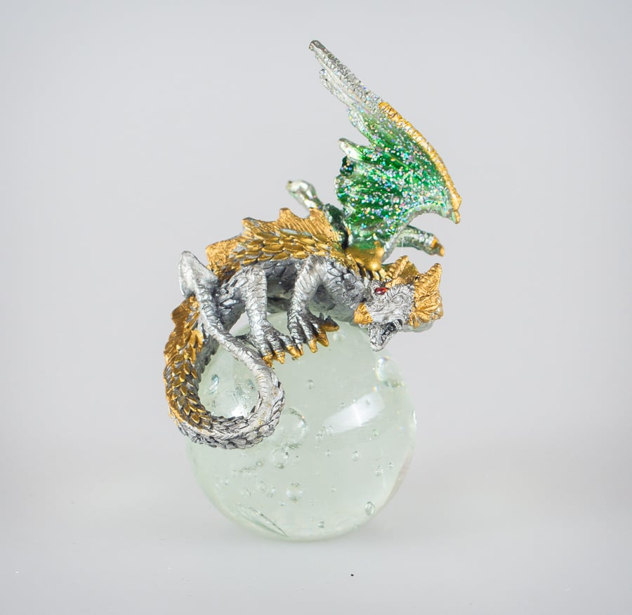 Green/Gold Dragon on Crystal Ball