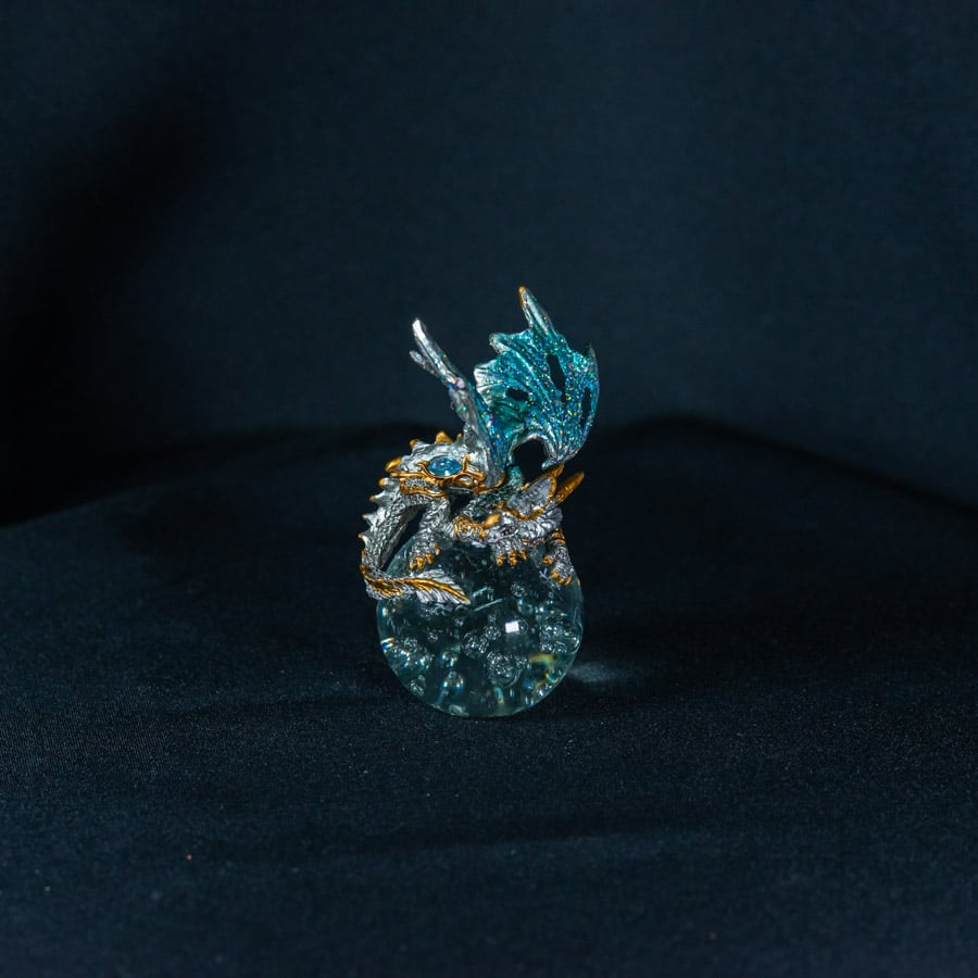 Turquoise/Gold Dragon on Crystal Ball 1