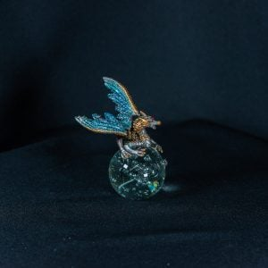 Turquoise/Gold Dragon on Crystal Ball 2