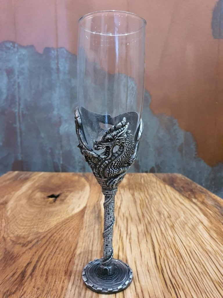 Dragon Castle Tower Champagne Flute - Single Glass